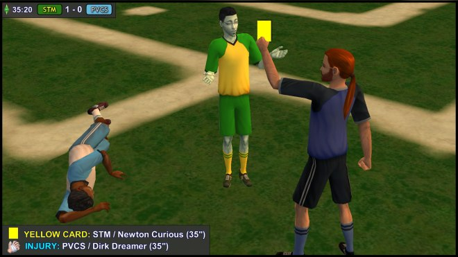 Yellow Card: Newton Curious. Injury: Dirk Dreamer