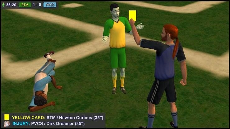Yellow Card: Newton Curious. Injury: Dirk Dreamer