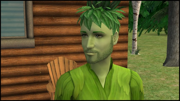 Reed with green brows and stubble