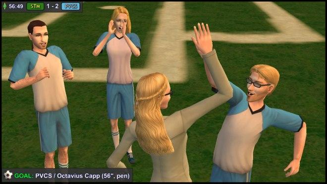 PVCS Goalscorer Octavius Capp celebrates with Regan, Hal & Ariel