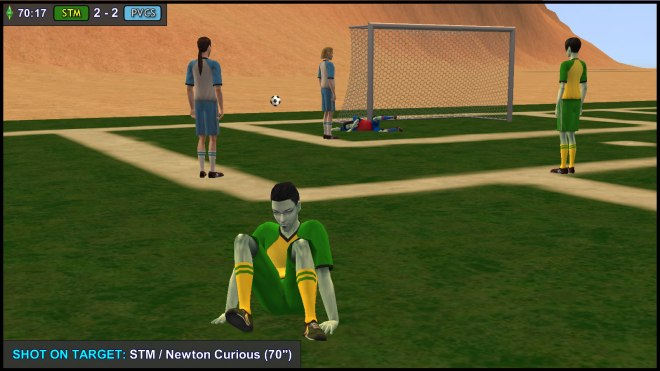 Newton Curious gets up after a Bicycle Kick attempt