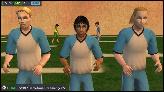 Goal: Demetrius Dreamer celebrates with Dustin & Beau Broke