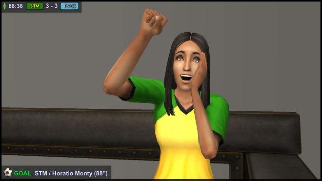 Claudia Monty celebrates her brother's goal