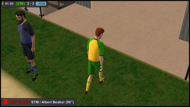 Albert Beaker leaves the pitch in shame