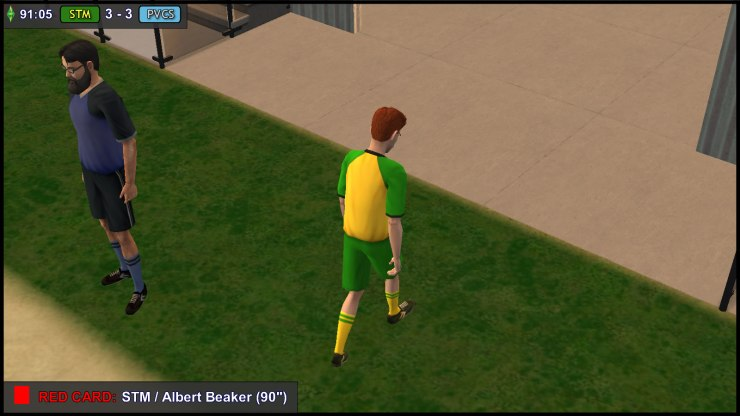 Albert Beaker leaves the pitch in shame