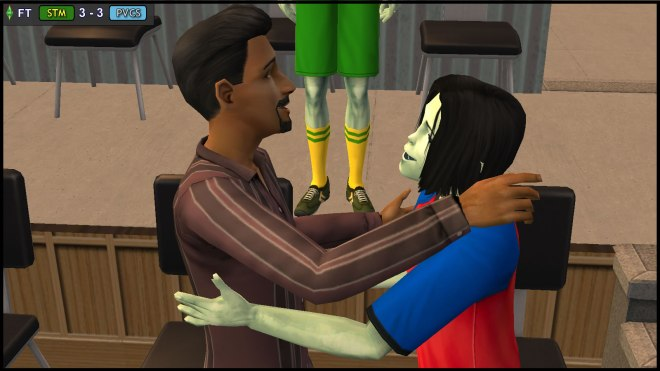 Don Lothario acknowledges Juan Caliente with a paternal hug
