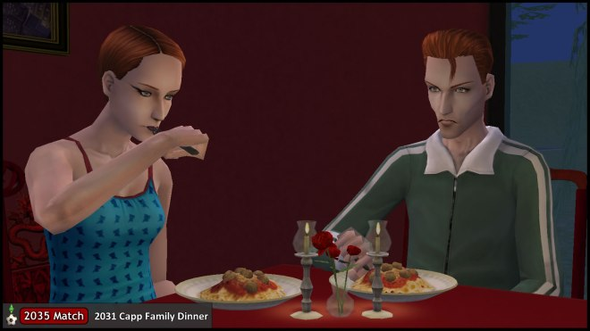 Tybalt Capp and Hermia Summerdream at the 2031 Family Dinner