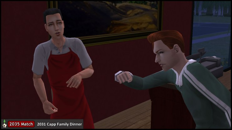 Tybalt Capp uses his fist to end his argument with the waiter