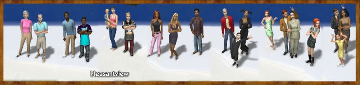 Pleasantview Families: Oldie, Dreamer, Broke, Caliente, Lothario, Goth, Pleasant, Burb
