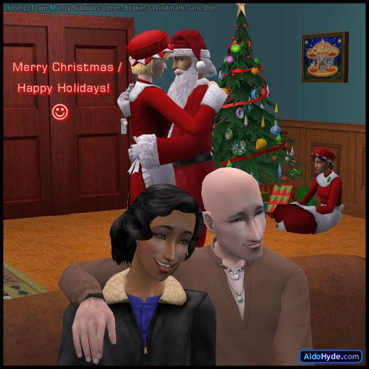 Ajay Loner & Erin Beaker as Santa & Mrs Claus, James & Susan Windmark on the couch, Jane Doe by the Christmas tree