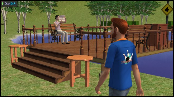 Daniel Pleasant walks by the park where Mary-Sue Oldie is reading