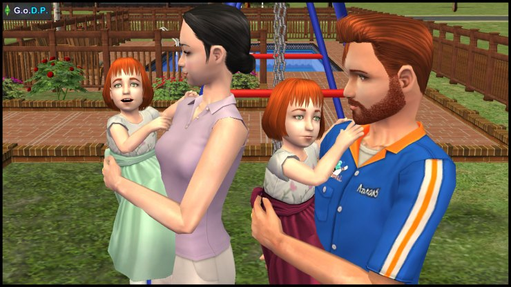 New Pleasant family: Mary-Sue carrying Angela, Daniel carrying Lilith