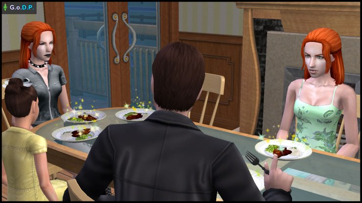 Lilith & Angela Pleasant argue at the dinner table
