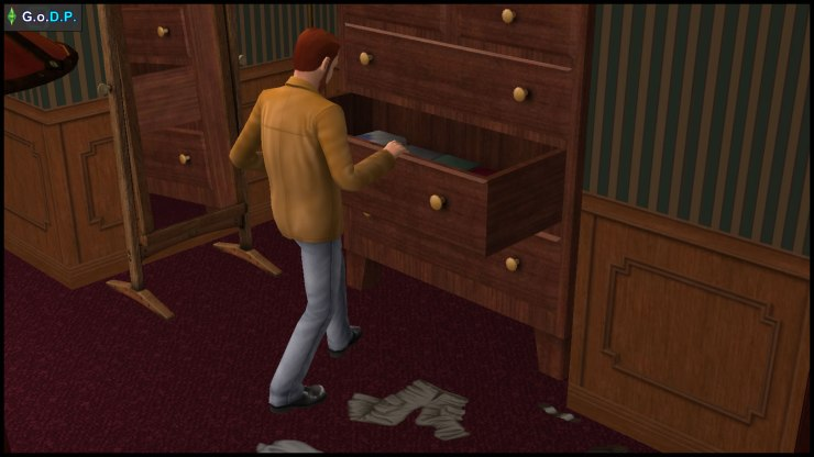 Daniel Pleasant gazes at the contents of the dresser drawers