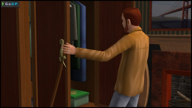 Daniel Pleasant checks the wardrobe