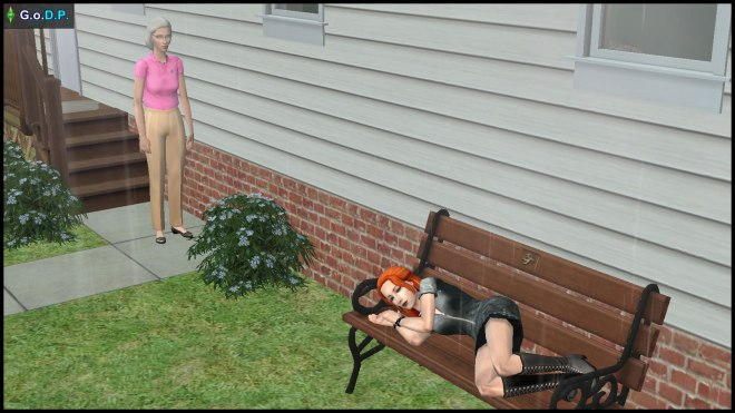 Coral Oldie sees Lilith Pleasant sleeping on the bench outside the house