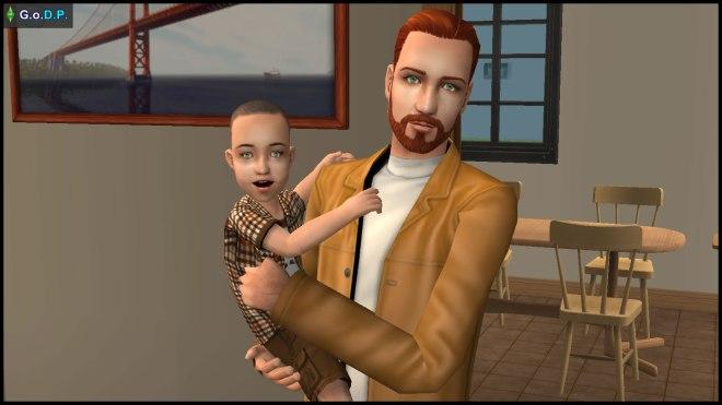Daniel Pleasant carrying his toddler Parker