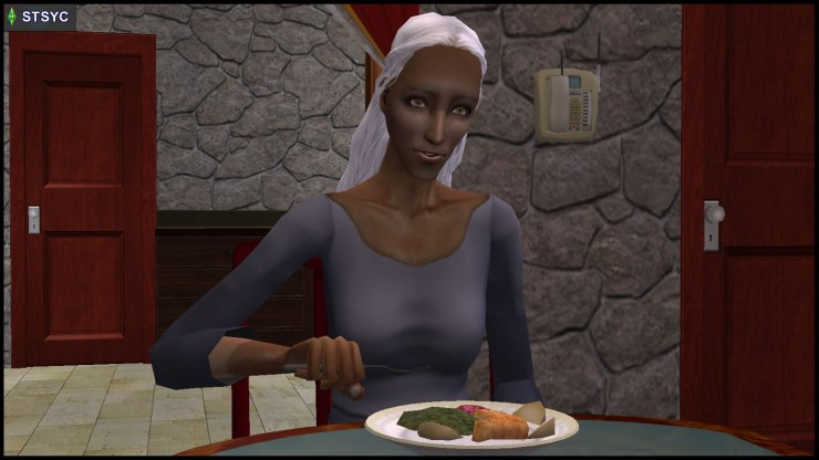 Olive Specter hears things in her head while having dinner