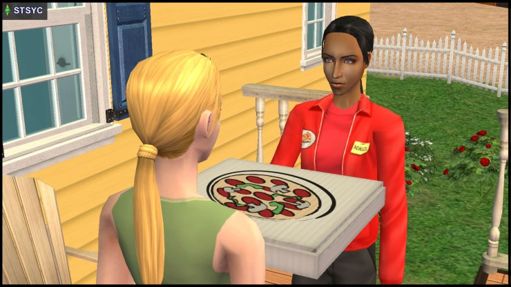 Danielle Greaves delivers pizza to Jenny Smith's house