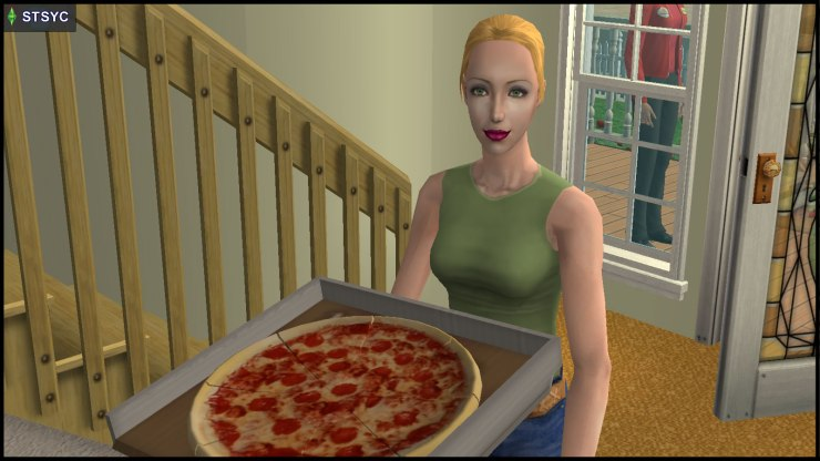 Jenny Smith brings in the pizza
