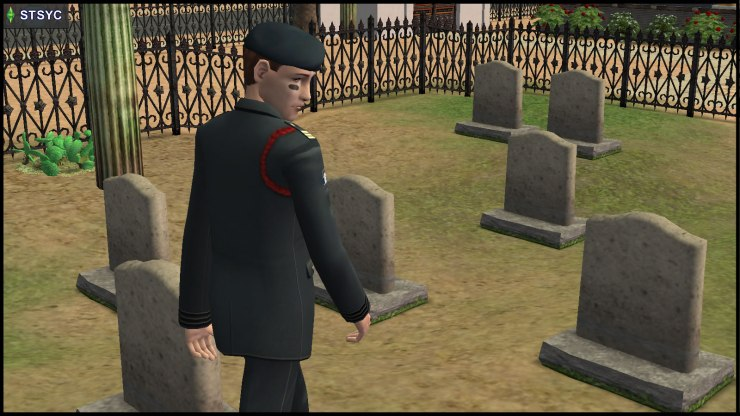 Unlike in STM, General Buzz Grunt gets to look around Olive Specter's Graveyard in STSYC