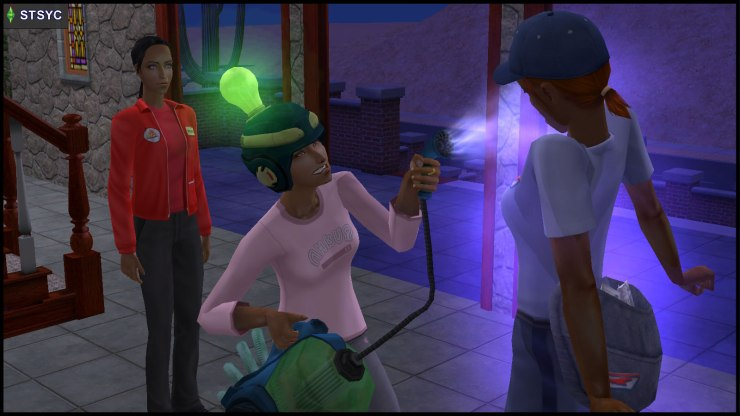 Circe Beaker wears a Thinking Cap, and uses the SimVac on Brenda Zaidi, while Danielle Greaves creeps behind her