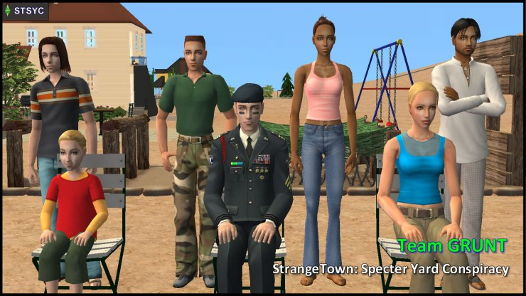 Team GRUNT: General Buzz Grunt, Lyla, Tank, Ripp, Buck, Kristen Loste, Ajay Loner