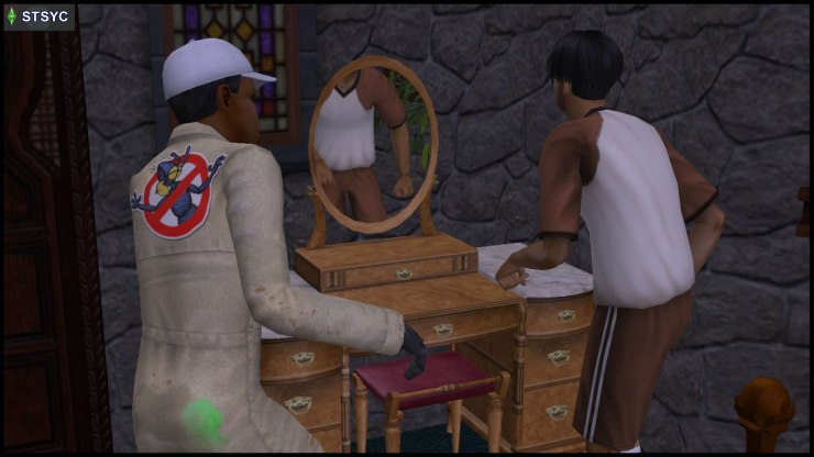 A zombie interrupts Ajay Loner as he destroys a vanity table