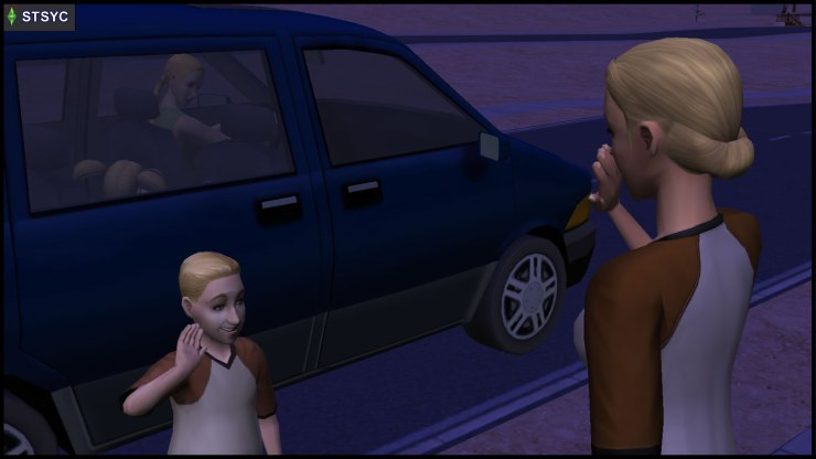 Buck Grunt waves goodbye to Mom Lyla Grunt, before getting into the car with Jenny and Jill Smith