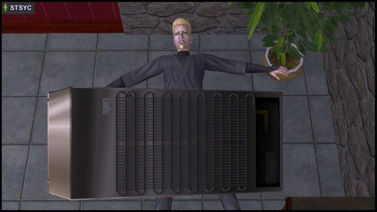 Loki Beaker's comeuppance: trapped under the fridge