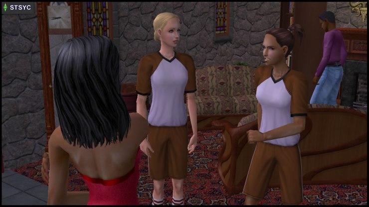 Lyla Grunt disturbs Kristen Loste's fight against zombie Bella Goth