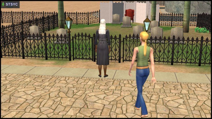 Jenny Smith approaches Olive Specter in her own graveyard