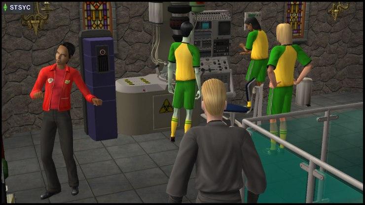 Loki Beaker sneaks past zombie Danielle Greaves, behind Team Curious