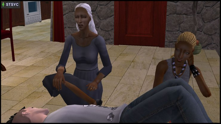 Olive Specter & Ophelia Nigmos mourn over the fallen Nervous Subject