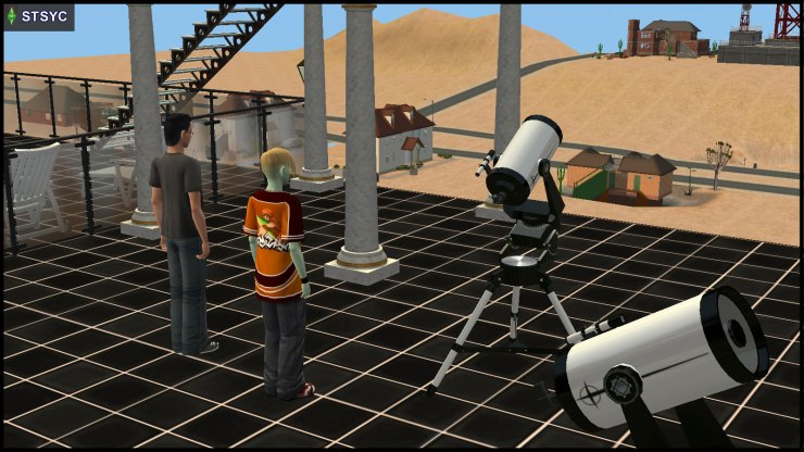 Pascal Curious & Johnny Smith look out from the telescope deck of Curious Observatory