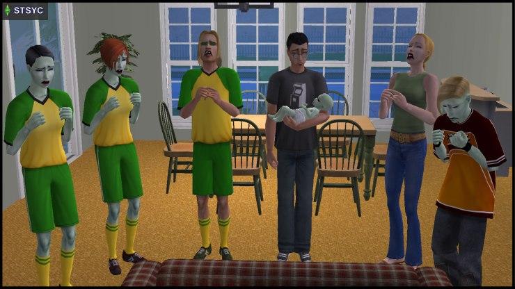 Team Curious' survivors: Pascal, Vidcund, Newton Curious, Jenny & Johnny Smith, Lola & Chloe Curious-Smith