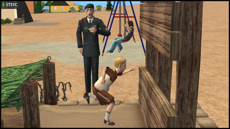 General Buzz Grunt trains Buck Grunt on the military obstacle course, while Ripp Grunt chills on the swings