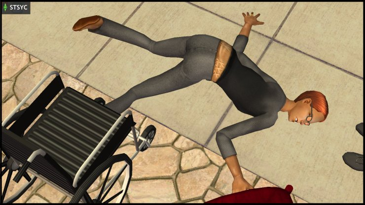 Circe Beaker falls off her wheelchair