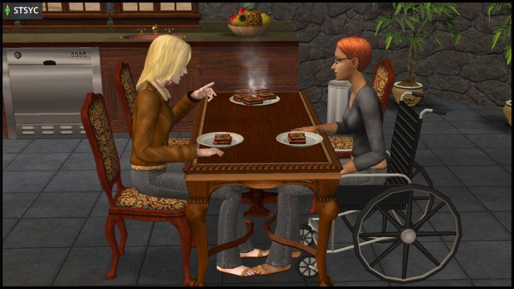 Erin Beaker eats indoors with wheelchair-bound Circe Beaker