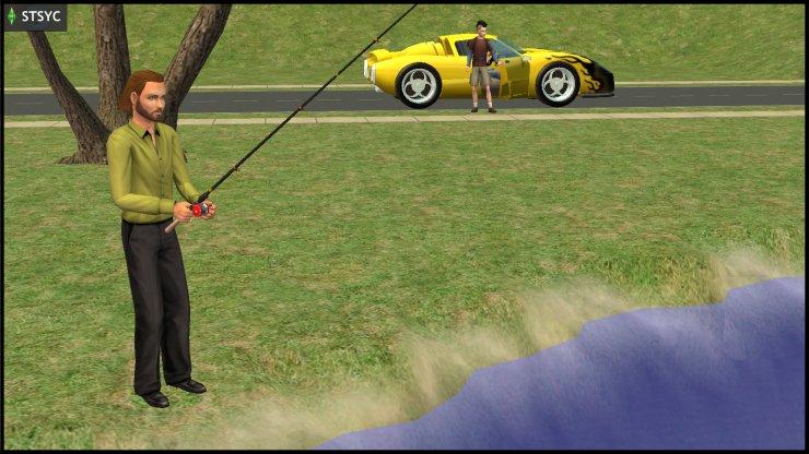 Nervous Subject arrives where Racing Man Sepp Rossi is fishing - at Gondola Park, Veronaville