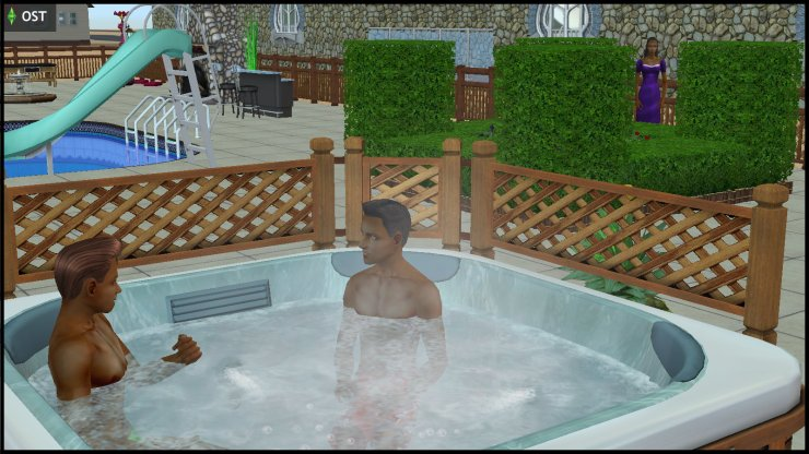 Olive Specter spies on Earl E & Tim Lee DeMise in the hot tub