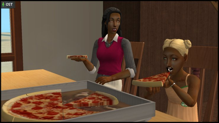 Young Olive Specter & Willow Nigmos (Muenda) eat pizza