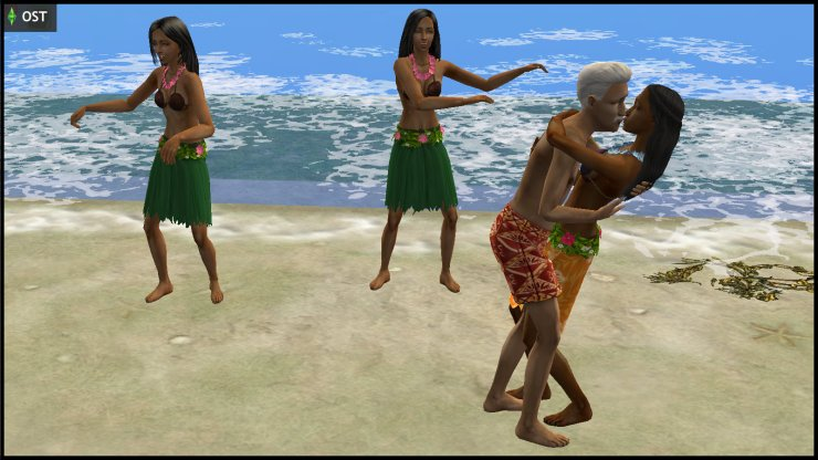 Young Olive Specter & Rigger Mortis kissing at Simwaii beach, while hula zombies dance