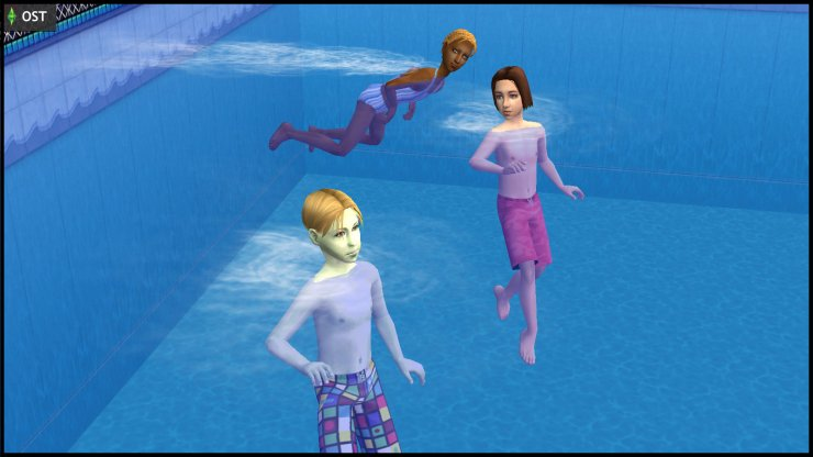 Young Ophelia Nigmos, Ripp Grunt and Johnny Smith swimming