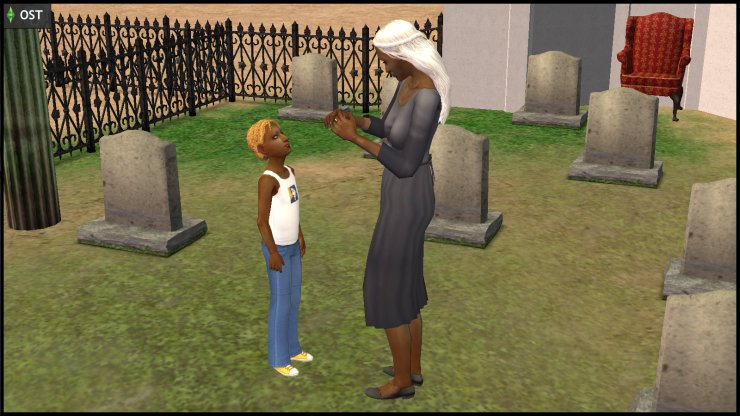 Olive Specter and young Ophelia Nigmos talk in the graveyard