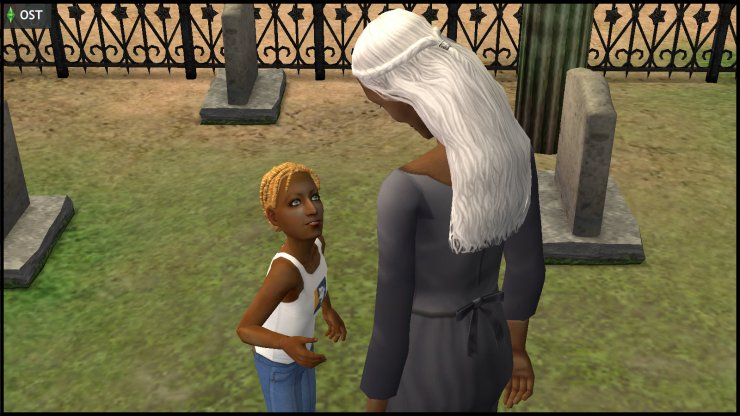 Young Ophelia Nigmos asks aunt Olive Specter about the other ghosts in the graveyard