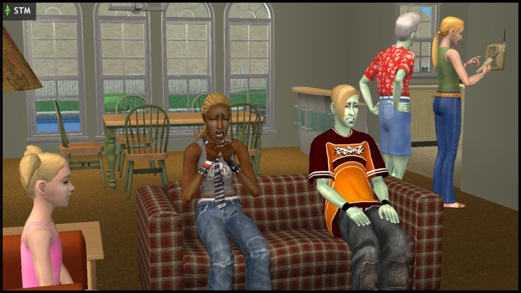 Ophelia Nigmos cries, while Johnny & Jill sit with her, and Jenny & Pollination Technician #9 Smith call the cops