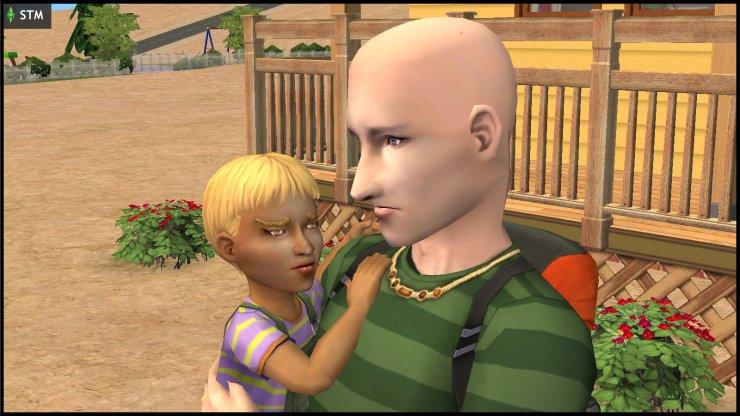 James Windmark (Loki Beaker) carrying his child, Louis Windmark Beaker