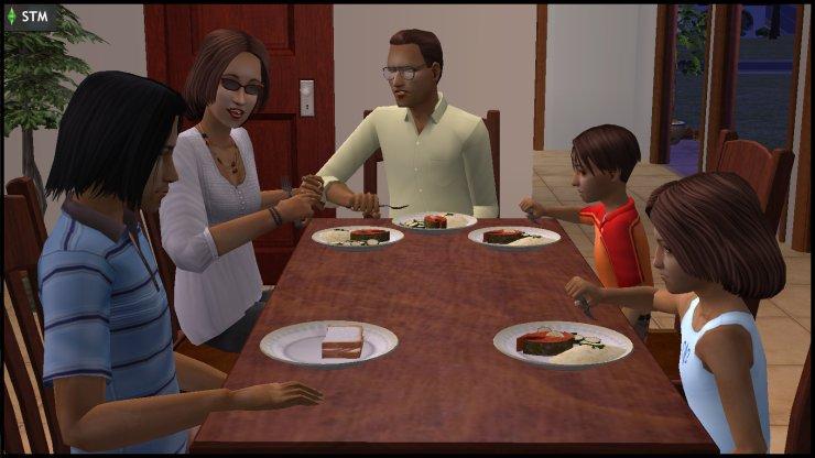 Monty family dinner 1988: Patrizio, Isabella, Claudio, Antonio, Bianca