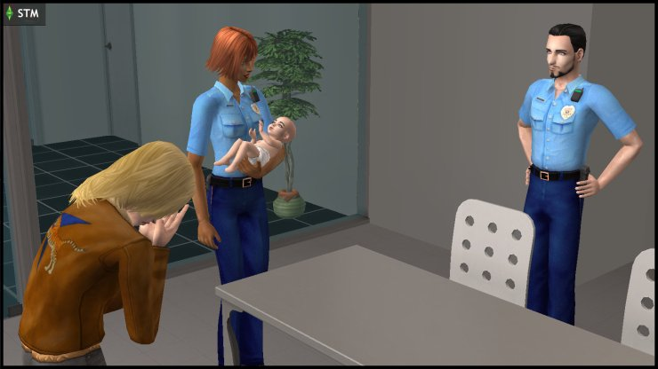 Erin Beaker sobs in the interrogation room as her baby Jane Loner is taken by cops Claire Charming & Elden Hick